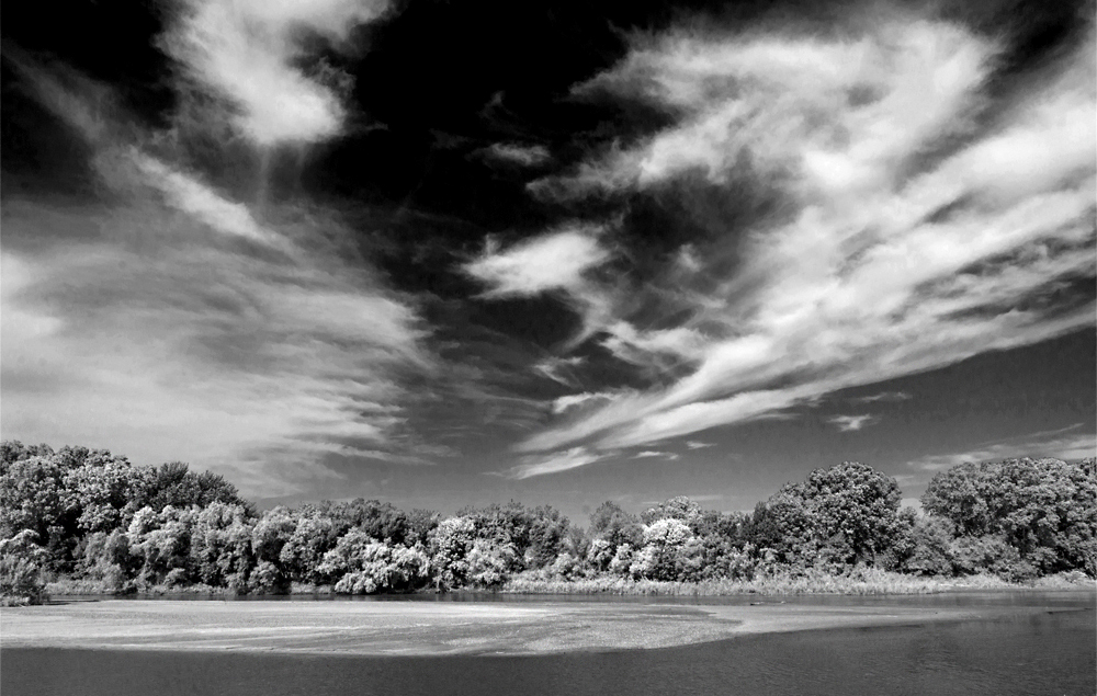 Arkansas River, infrared, black-and-white